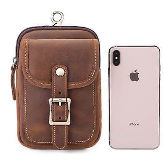 Men's leather waist bag can wear belt slant across mobile phone bag