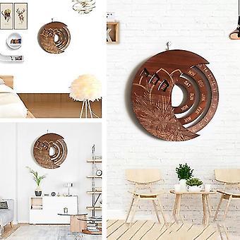 Round Wooden Wall Calendar Hanging Multifunctional Flower Craft Pattern Handicraft 25.4x25.4cm