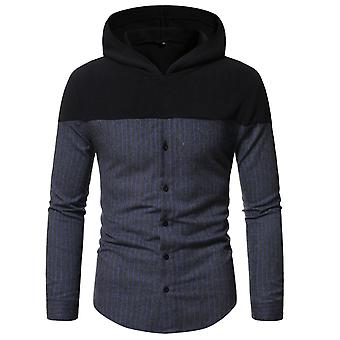 Men's Striped Hooded Long Sleeve Loose Fit Casual Shirt