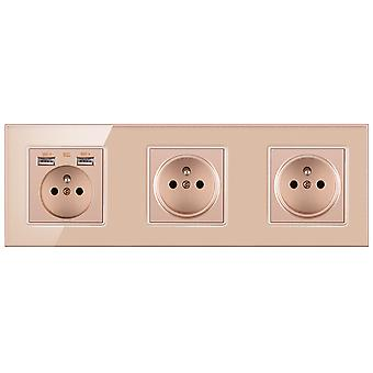 Eu Power Outlets Glass Three-slot Wall Sockets With Pins With 2 Usb Outlets