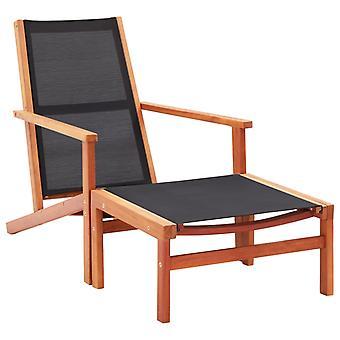vidaXL puutarhatuoli jalkatelineellä eukalyptus massiivipuu ja tekstiili
