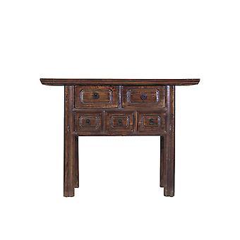 Fijne Aziatischeliving Chinese console tafel met lades ontworpen handgeschilderd bruin