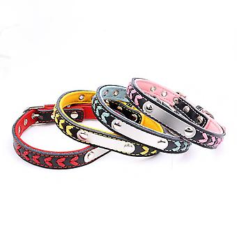 Stainless steel iron dog collar laser lettering pet with colored woven leather dog chain(Blue)