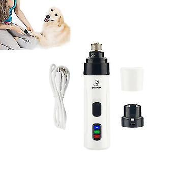 Σκύλος καρφί κουρευτική μηχανή χαμηλού θορύβου ζώο καλλωπισμό χλοοκοπτικές γάτες καρφί clipper κατοικίδιο νυχιών μύλος (λευκό)