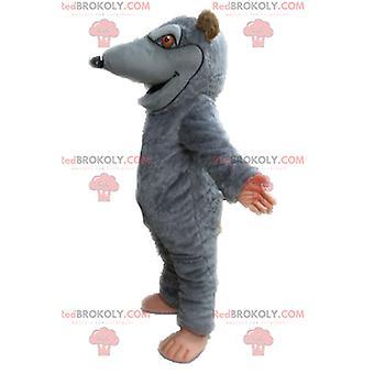 Mascota REDBROKOLY.COM rata gigante gris y marrón.mascota de REDBROKOLY.COM