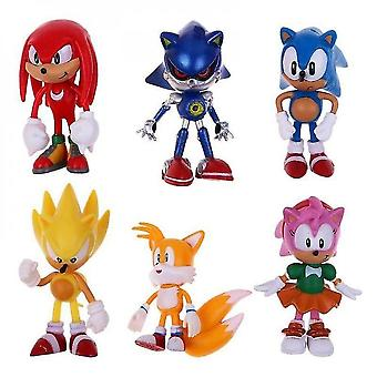 (#1-sonic) 6st Sonic The Hedgehog Action Figures Kids Toy