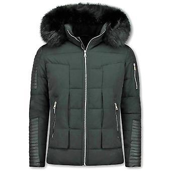 Kort vinterfrakk - Faux Fur Fur Collar - svart