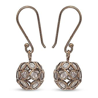 Artisan Crafted Champagne Polki Diamond Dangle Hook Earrings Rose Gold in Silver