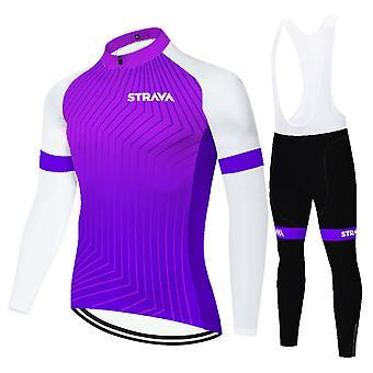 Strava Men's Long Sleeve Cycling Jersey Set Pants With 3d Suspender Pants -purple