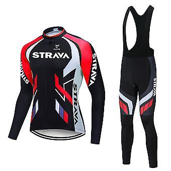 Automne 2021 Hommes Manches Longues Cyclisme Jersey Chemise 20d Bib Pantalon Respirant Costumes Ropa Ciclismo VTT Vélo Sport Uniforme Culotte