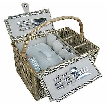 4 Person Antique Wash Fitted Picnic Basket