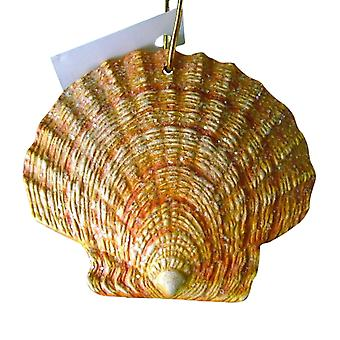 Tropical Beach Seashell Yellow Christmas Ornament ORNShell015 Resin 4 Inches