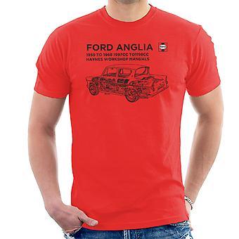 ヘインズ ワーク ショップ マニュアル 0001 フォード アングリア ブラック メンズ t シャツ