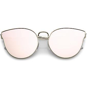 Premium metalli Cat Eye Sunglasse ohut aseita ja värillisiä peili tasainen linssi 54mm
