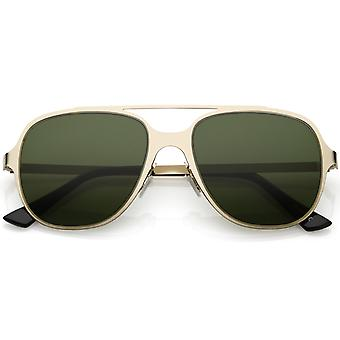 Sleek Metal Aviator Sunglasses With Double Crossbar Neutral Color Flat Lens 54mm