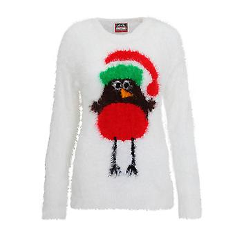 Christmas Shop Womens/Ladies Robin Design Fluffy Knitted Jumper