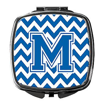 Carolines Treasures  CJ1056-MSCM Letter M Chevron Blue and White Compact Mirror