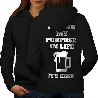 Cel życia piwa śmieszne kobiety BlackHoodie tyłu | Wellcoda