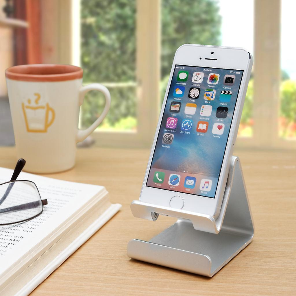 Aluminum Alloy Phone Holder Stand - Compatible with iPhone and Android Smartphones - Desktop Mount Mobile Phone Portable Cradle - Blue