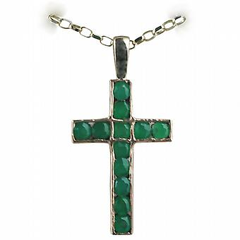 9ct Gold 25x16mm Apostle's Cross set with 12 Green Agate with a belcher Chain 18 inches