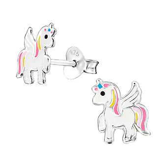 Unicorn - 925 Sterling Silver Colourful Ear Studs - W33589X