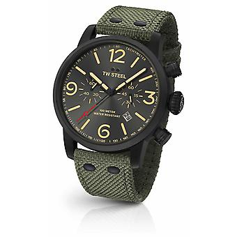 TW Steel Maverick kaliber Chronograph groene Canvas band black Dial MS124 Watch
