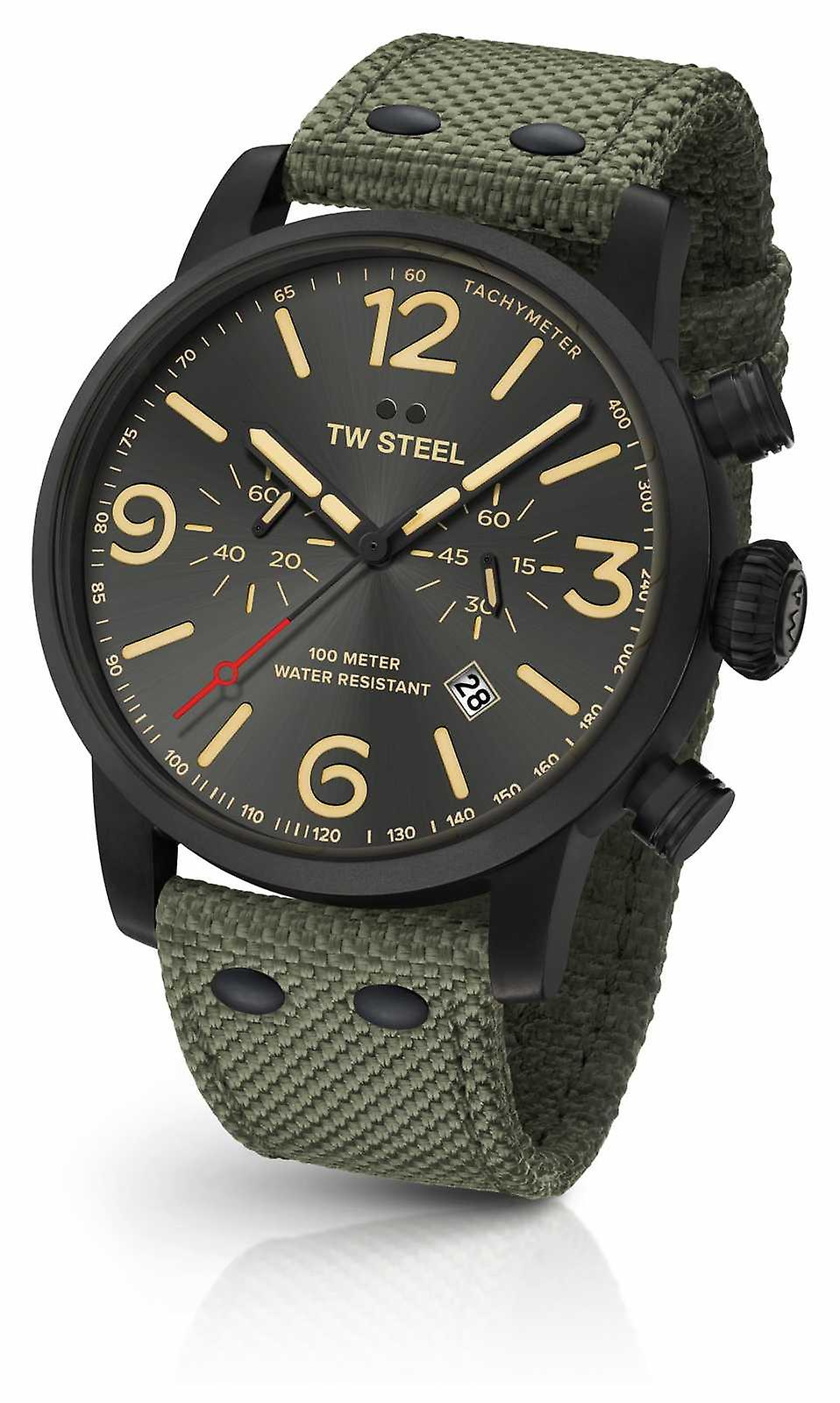 TW Steel Maverick Caliber Chronograph Green Canvas Strap black Dial MS124 Watch