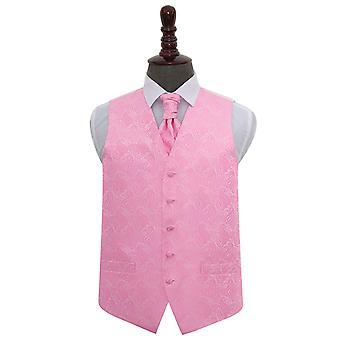 Baby vaaleanpunainen Paisley häät liivi & Cravat Set