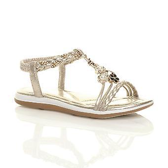 Ajvani naisten edulliseen kiila t-bar strappy diamante helmi kukka sandaalit