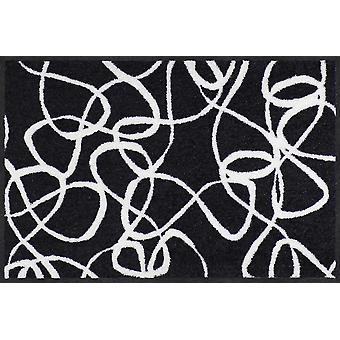 Tapis de porte Salonloewe Ink Lines noir blanc lavable tapis de terre lavable