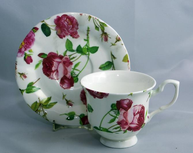 English Bone China Teacup and Saucer Redoute Rose