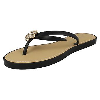 Womens Savannah Toe Post Diamante Flower Detail Sandals
