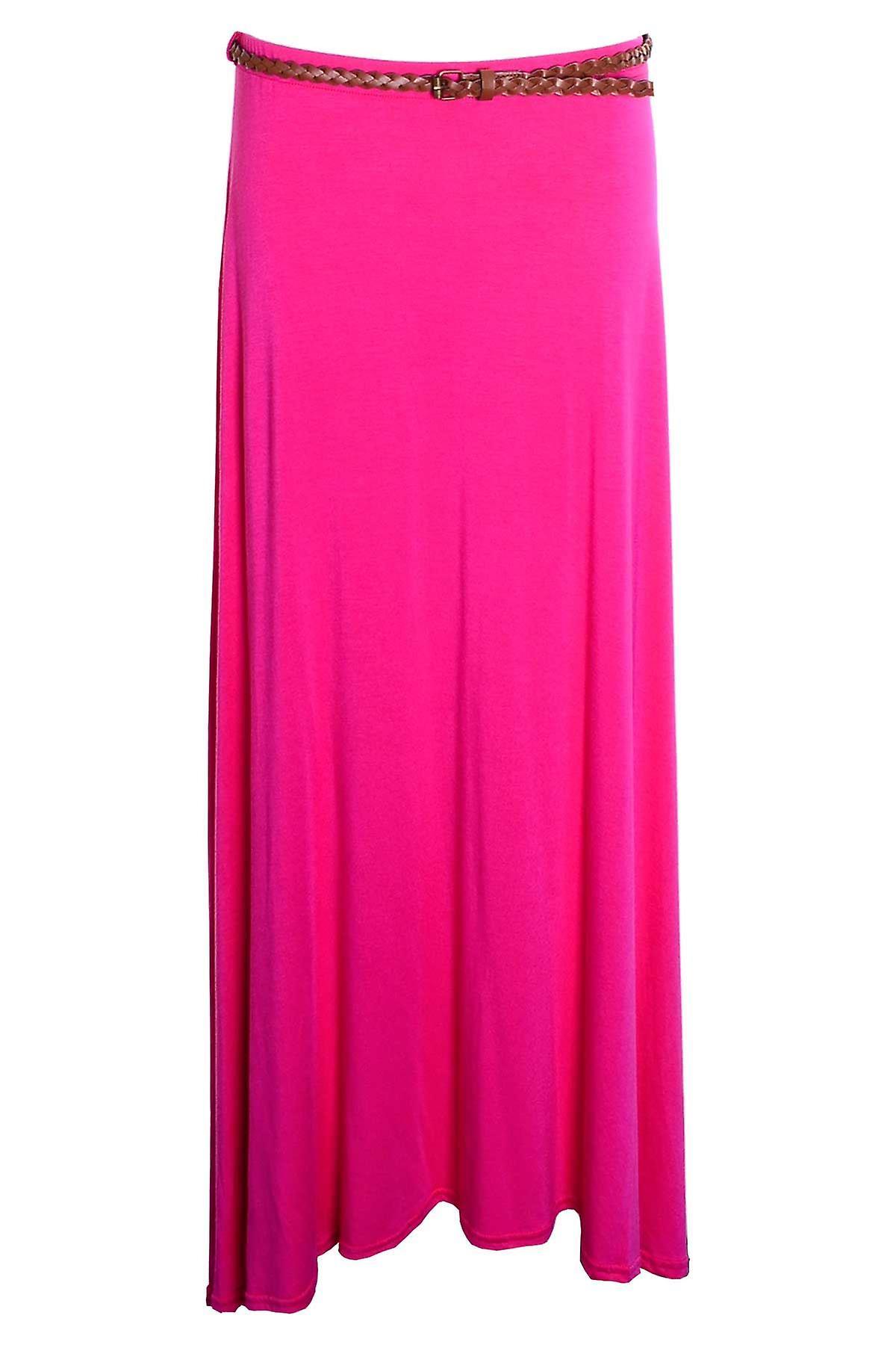 Uusi naisten pitkä Gypsy turvavyötä tavallinen värillinen Jersey Maxi mekko naisten hame