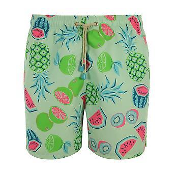 Oiler & Boiler Tuckernuck Mid-Length Fun Fruits Swim Shorts, Blue/Multi
