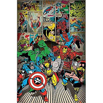 Marvel poster hier komen de helden Hulk, Captain America, Wolverine, iron man, Thor, Spiderman