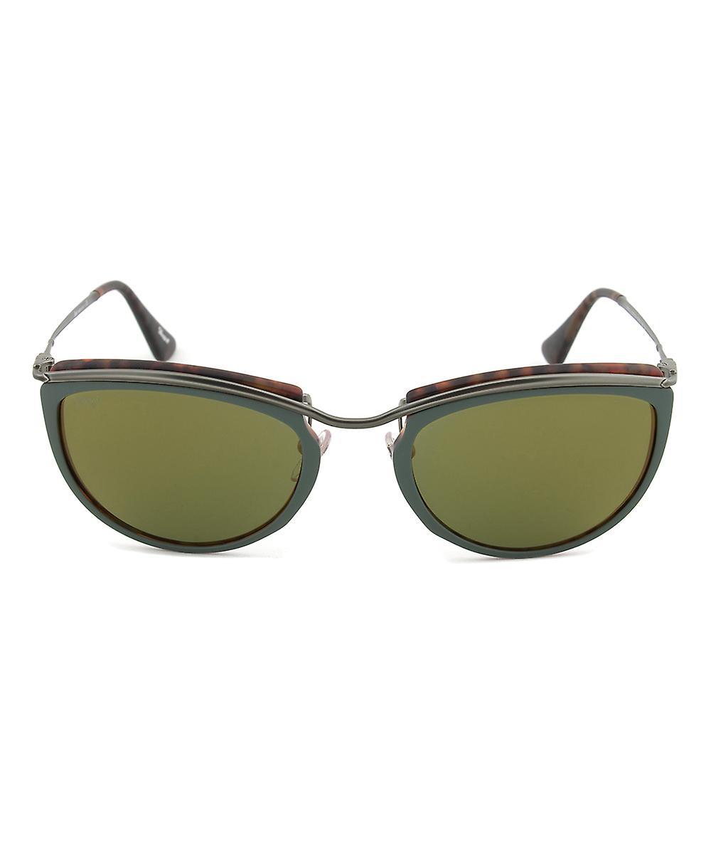 Persol PO3082S 1007/08 Sunglasses | Green and Matte Havana Frame | Green Mirror Gold Lens