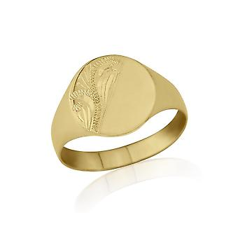 Star Wedding Rings Oval-Shaped 9ct Yellow Gold Light Weight Engraved Signet Ring