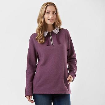 New One Earth Women's Soft Long Sleeve Half Zip Sweatshirt Plum
