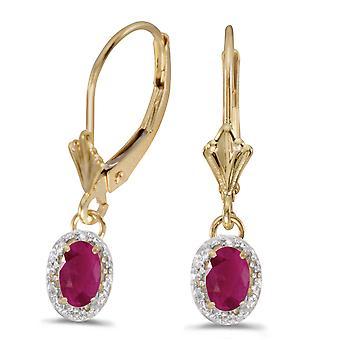 LXR 14k or jaune ovale rubis et diamants boucles d'oreilles Leverback 0.94 ct