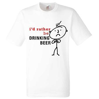 Mens I'd Rather Be Drinking Beer White Tshirt