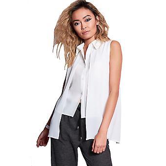 Style London White Asymmetric Layered Shirt With Split Back