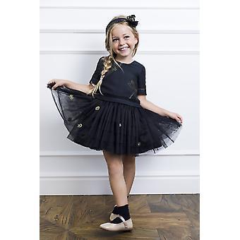 Schwarzer Tüll-Mädchen-Kleid
