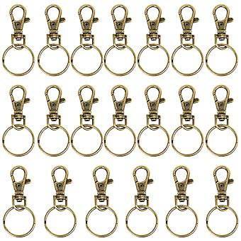 TRIXES 20 X Small Lobster Detachable Swivel Clasps for Key Split Ring Brass