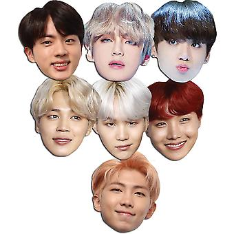 BTS Bangtan Boys 2D Card Party Fancy Dress Masks Variety Pack of 7