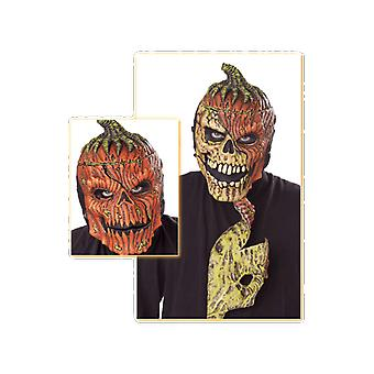 Adult Pumpkin Mask with Skeleton Reveal Halloween Fancy Dress Accessory