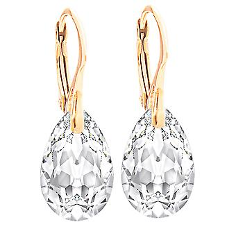 Clair des femmes 16mm cristaux de Swarovski main ouvrée boucles d'oreilles