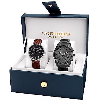 Akribos XXIV AK884BK Casual bracelet et cuir bracelet montre ensemble