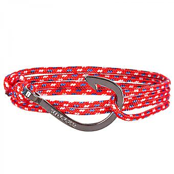 Holler Kirby Black Polished Hook/Red, Blue and White Paracord Armband HLB-03BKP02