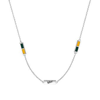 Oakland Athletics Sterling Silver Engraved Triple Station Necklace In Green & Yellow