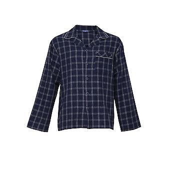 Cyberjammies 6397 Men's Harper Navy Blue Mix Check Cotton Long Sleeve Pyjama Top